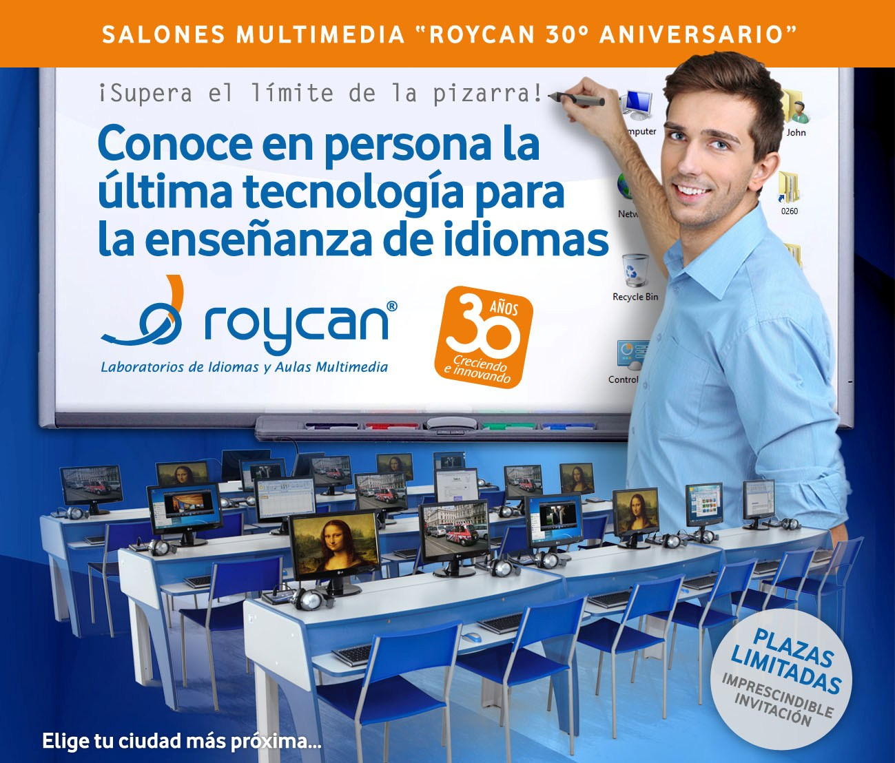 <strong>Roycan</strong> gets close to you with the <strong>Salones Multimedia</strong> (Multimedia meetings) of its <strong>30th anniversary</strong>.